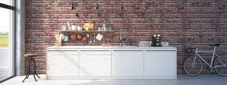 현대 디자인 부엌 인테리어의 3d 렌더링
