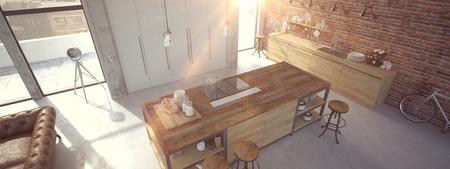 contemporary: 3d rendering of Modern Design Kitchen Interior Stock Photo