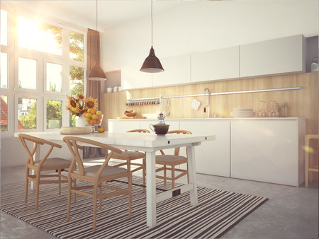 Kitchen and living room of loft apartment Foto de archivo