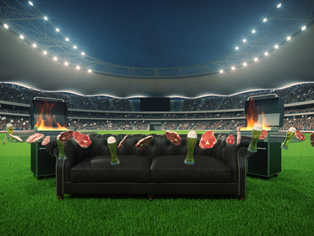 stadium with a sofa in the middle and flying steaks. 3d rendering Stock Photo