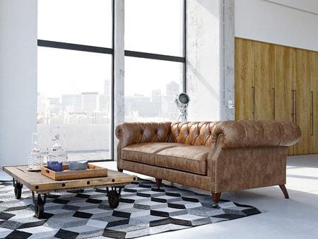 3D-rendering. loft appartement in de stad met vintage sofa. Stockfoto