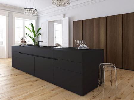 3D-rendering. Moderne loft met een keuken en woonkamer. Stockfoto