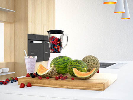 liquidiser: 3d rendering. blender with different fruits for a smoothie.