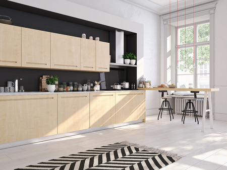 Rendering 3D della moderna cucina in un loft. Archivio Fotografico - 63693782