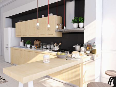 3D rendering of modern kitchen in a loft. Фото со стока