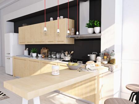 3D-weergave van moderne keuken in een loft.