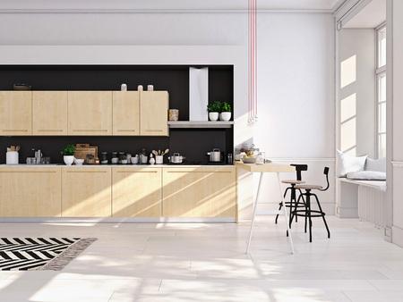 Rendering 3D della moderna cucina in un loft.