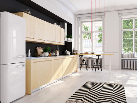 3D rendering of modern kitchen in a loft. Standard-Bild