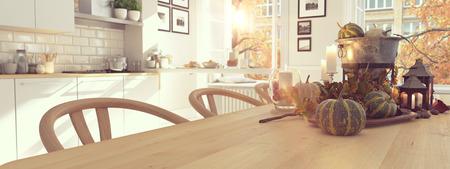 아파트에서 아늑한 북유럽 부엌. 추수 감사절 및 개념 가을. 3D 렌더링