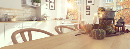 cozy nordic kitchen in an apartment. thanksgiving and fall concept. 3D rendering Foto de archivo