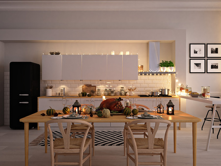 cozy nordic kitchen in an apartment. thanksgiving and autumn concept. 3D rendering