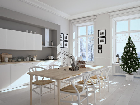 scandinavian christmas: 3d rendering. nordic kitchen with christmas decoration.