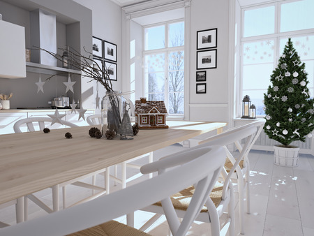 warmth: 3d rendering. nordic kitchen with christmas decoration.