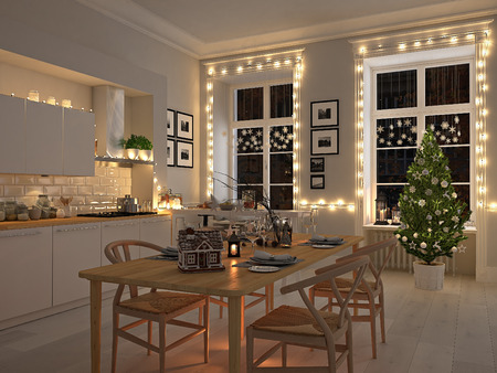 3d rendering. nordic kitchen with christmas decoration. Banco de Imagens - 63702937