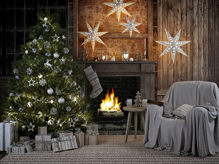 3D RENDERING.cozy christmas interior with firelace and christmastree. Zdjęcie Seryjne - 64317612