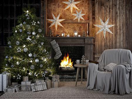 3D RENDERING.cozy firelace와 christmastree와 함께 크리스마스 인테리어입니다.