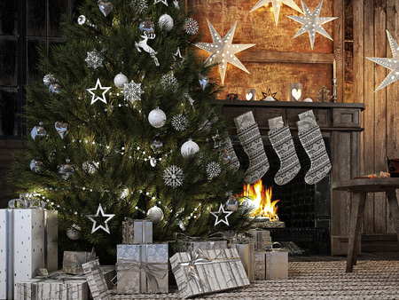 3 d レンダリング。暖炉の背景にクリスマス ストッキング