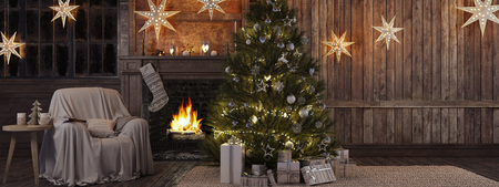 white christmas tree: 3d rendering. Christmas stocking on fireplace background Stock Photo