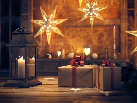 indoor background: 3d rendering. beautiful gift with Christmas ornaments