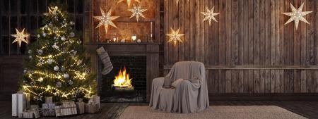 3d rendering. Christmas stocking on fireplace background Standard-Bild