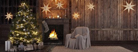 3d rendering. Christmas stocking on fireplace background Banque d'images