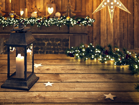 christmas lights display: 3D RENDERING. wooden table with lantern and ornament Stock Photo