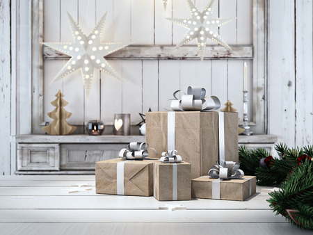 3d rendering. beautiful gift with Christmas ornaments Stock fotó - 64646616
