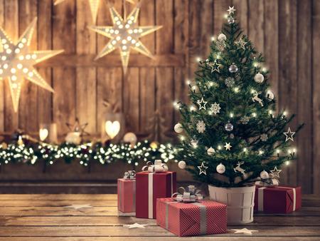 3d 렌더링입니다. 크리스마스 트리와 아름 다운 선물입니다. 스톡 콘텐츠