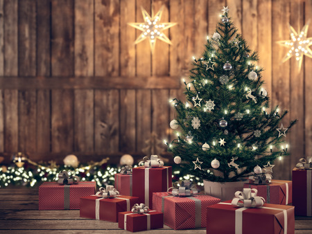 3d rendering. beautiful gift with Christmas tree. Stok Fotoğraf
