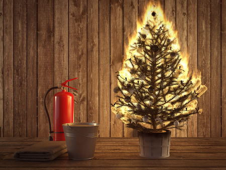 D rendering burning christmas tree with fire extinguisher and