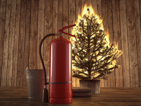 3d rendering. burning christmas tree with fire extinguisher and bucket beside. Stock Photo