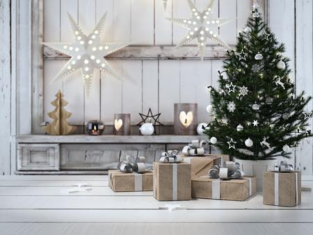 3D-rendering. mooi cadeau met kerst ornamenten Stockfoto