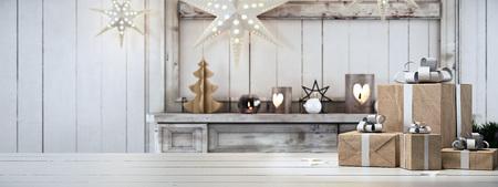 Rendering 3d. bel regalo con ornamenti di Natale Archivio Fotografico - 64646631
