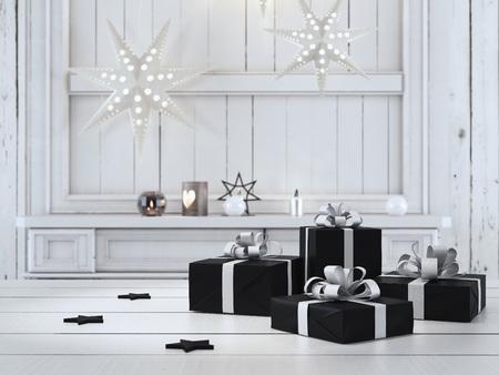 Rendering 3d. bel regalo con ornamenti di Natale Archivio Fotografico - 64646636