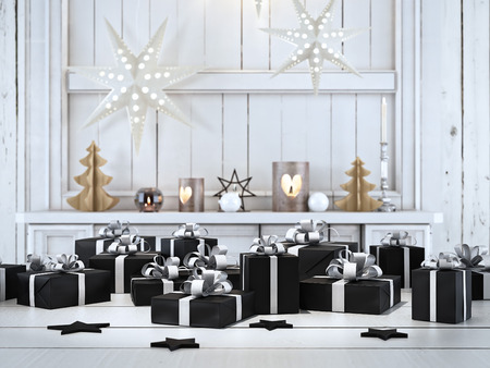 scandinavian christmas: 3d rendering. beautiful gift with Christmas ornaments