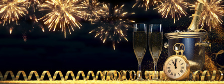 uncork: two glasses with champagne and bottle. new years eve concept. 3d rendering