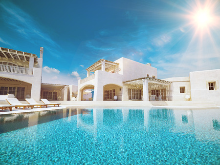 rendering: Villa with swimming pool. summer concept. 3d rendering