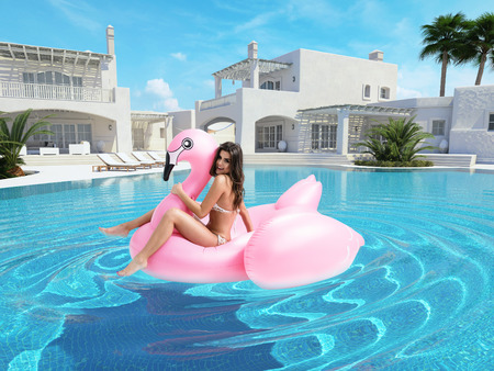 pool: beautiful girl having fun with pink flamingo float. 3d rendering