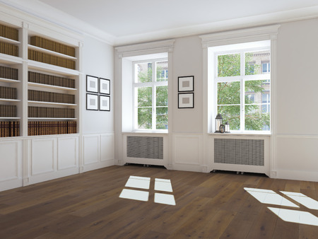 view of a wooden doorway: empty bright room with windows and parquet. 3d rendering