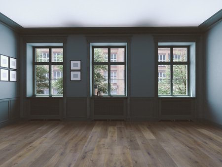 empty room with windows and parquet. 3d rendering