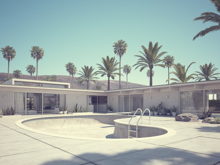 showhome: View of swimming pool and modern home exterior. 3d rendering