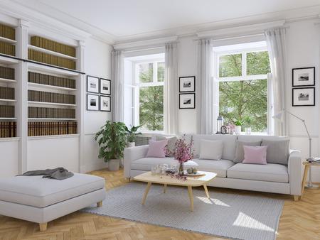 3d 렌더링. 타운 하우스 현대적인 거실. 스톡 콘텐츠 - 69955444