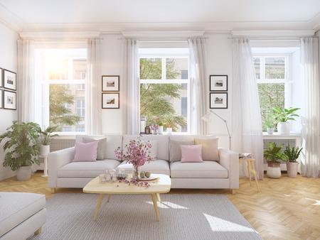 Representación 3D. moderna sala de estar en casa unifamiliar. Foto de archivo - 69955446
