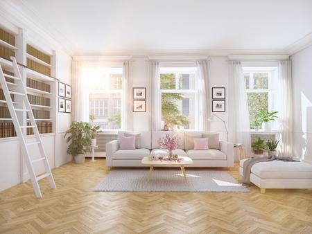 3d 렌더링. 타운 하우스 현대적인 거실. 스톡 콘텐츠 - 69955448