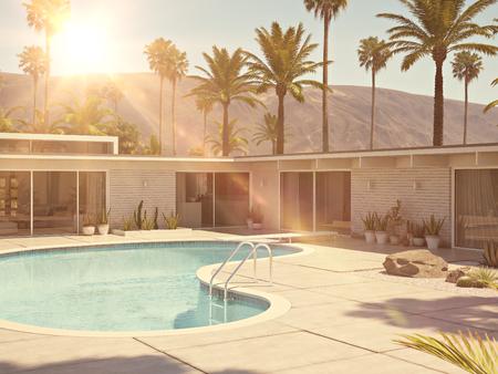 수영장 및 현대 집 외관의 전망입니다. 3 차원 렌더링