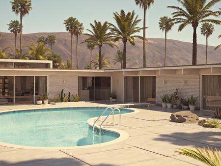 スイミング プール、モダンな家の外観を表示します。3 d レンダリング 写真素材 - 70053794
