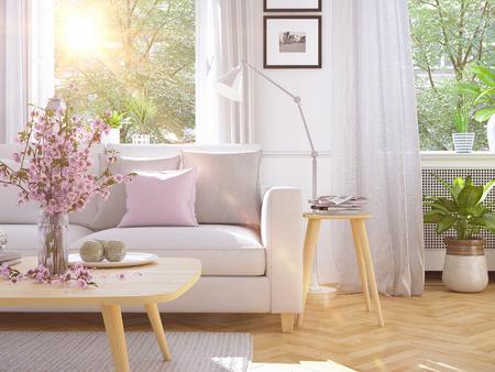 modern living room in townhouse. 3d rendering 写真素材