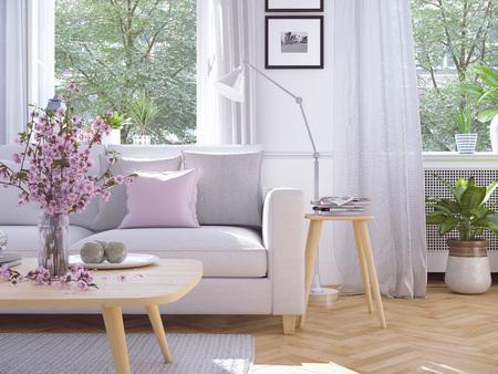 Modernes Wohnzimmer im Stadthaus. 3D-Rendering Standard-Bild - 70480817