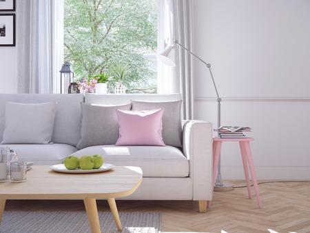 Moderna sala de estar en casa urbana. Representación 3D Foto de archivo - 70480819