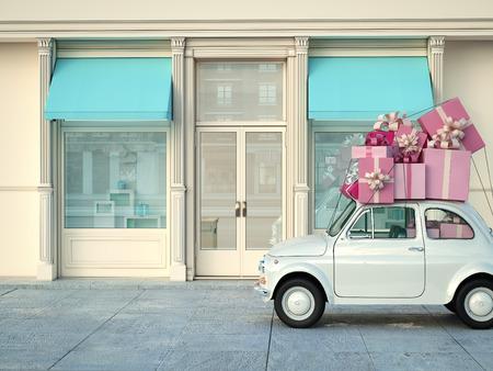 auto met presenteert op het dak Infront van de winkel. 3D-rendering